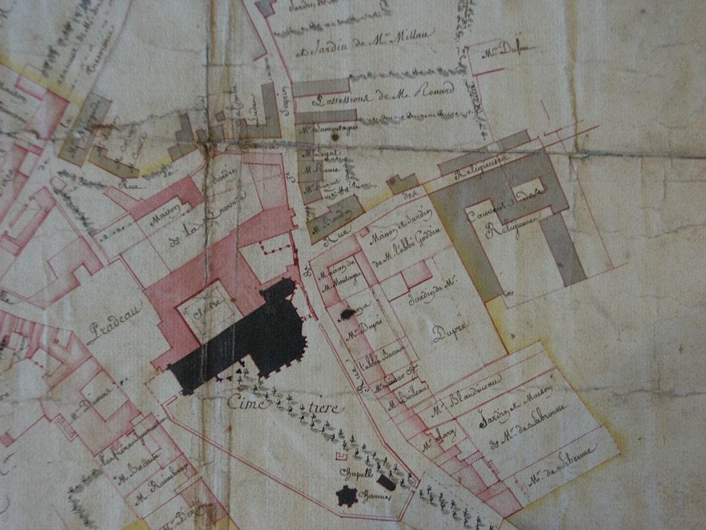 Depuis l'antiquité - Plan du couvent des Catherinettes Bordeaux fin XVIIIe siècle