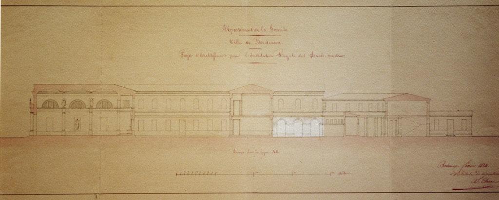 photo du dessin du projet de l'institution sourdes-muettes Bordeaux