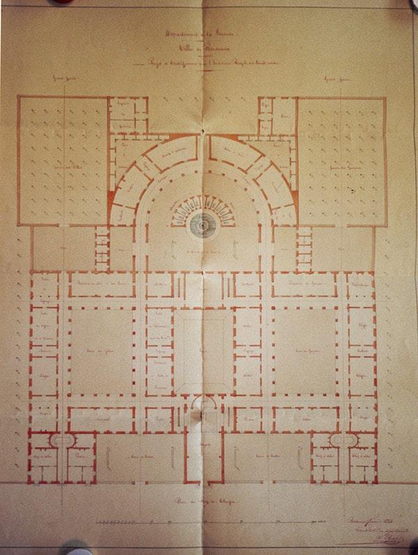 Construction de l'institution sourdes-muettes - Plan du rez-de-chaussée du projet de 1834