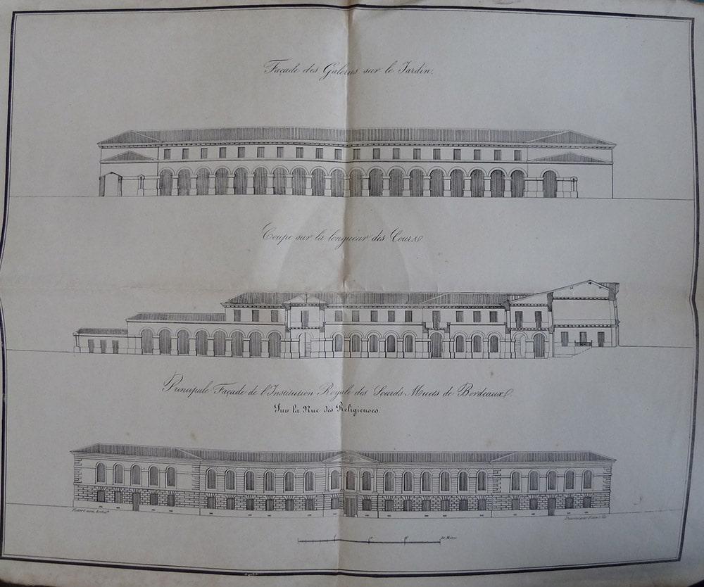 Création école - croquis de trois plans projet de façade de l'école